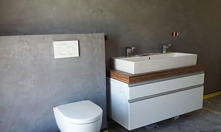 Malerarbeiten Badezimmer Wand in Beton - Optik
