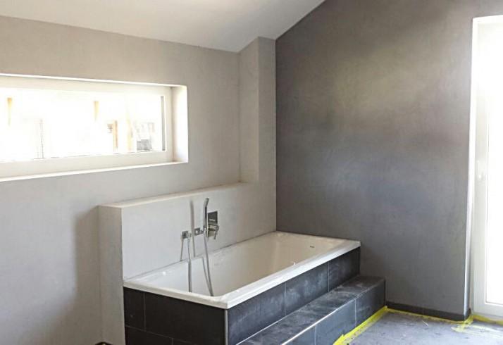 Wandgestaltung Anstrich Badezimmer in Beton - Optik